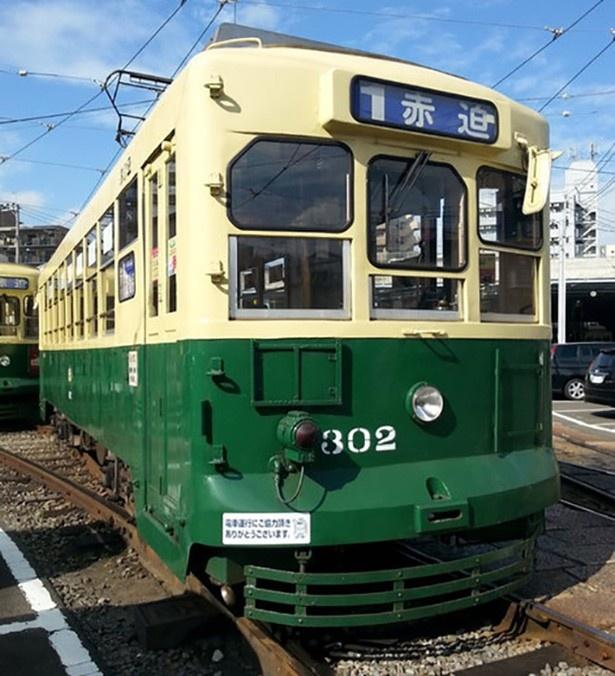 長崎市民にはおなじみの黄色と緑色でカラーリングされた路面電車がモデル(写真は300形)