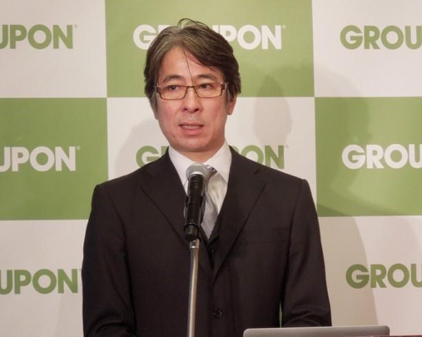 """グルーポン・ジャパンの代表取締役CEOを務める根本啓氏。「確実に期日に届ける体制」など、""""おせち事件""""からの改善点を説明"""