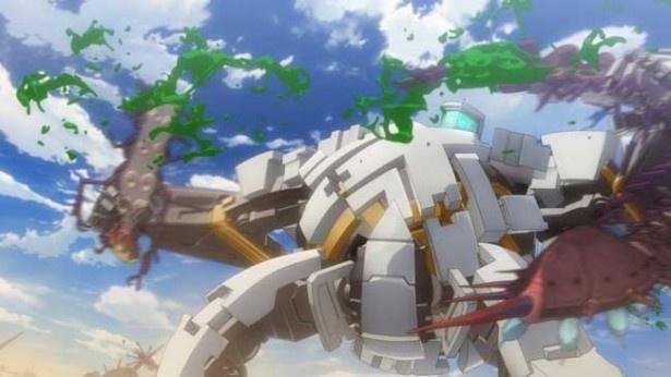 機動外骨格スーツ・アーハンで地上に降り立ったアンジェラはモンスターの襲撃に遭う