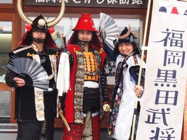 イケメンが勢揃い!福岡城のおすすめポイントを教えてくれた黒田長政(写真左)、黒田官兵衛(同中)、銀時(同右)
