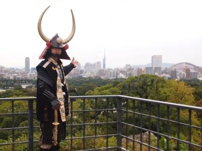 黒田長政の一押しは福岡城大天守台跡。福岡タワーやヤフオクドームも望める
