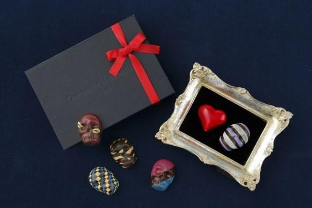 「スペシャルトリュフ(アートスカル)」(2592円)は、高級感あふれるパッケージの中に、迷彩柄やキスマークをデザインしたスカル形トリュフが入っている