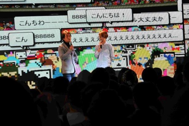 イベントのMCを務めた(写真左から)ドワンゴの取締役・夏野剛氏、やまだひさし
