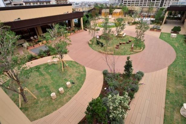 商業施設の屋上庭園では日本最大級の広さを誇る「ぐらんぐりんガーデン」