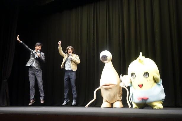 染谷、山崎監督、ミギー、ふなっしー、全員そろって「寄生汁ぶしゃー!」
