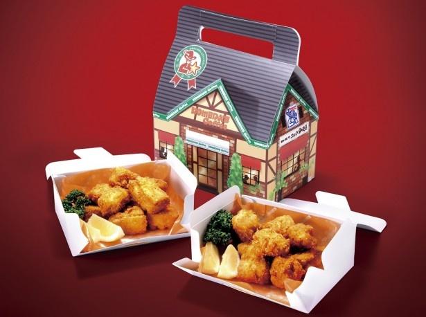 コメダ珈琲店の店舗をモチーフにした外箱がキュートな「コメチキ クリスマス特製BOX」(12個入り990円、24個入り1980円)の販売も行う