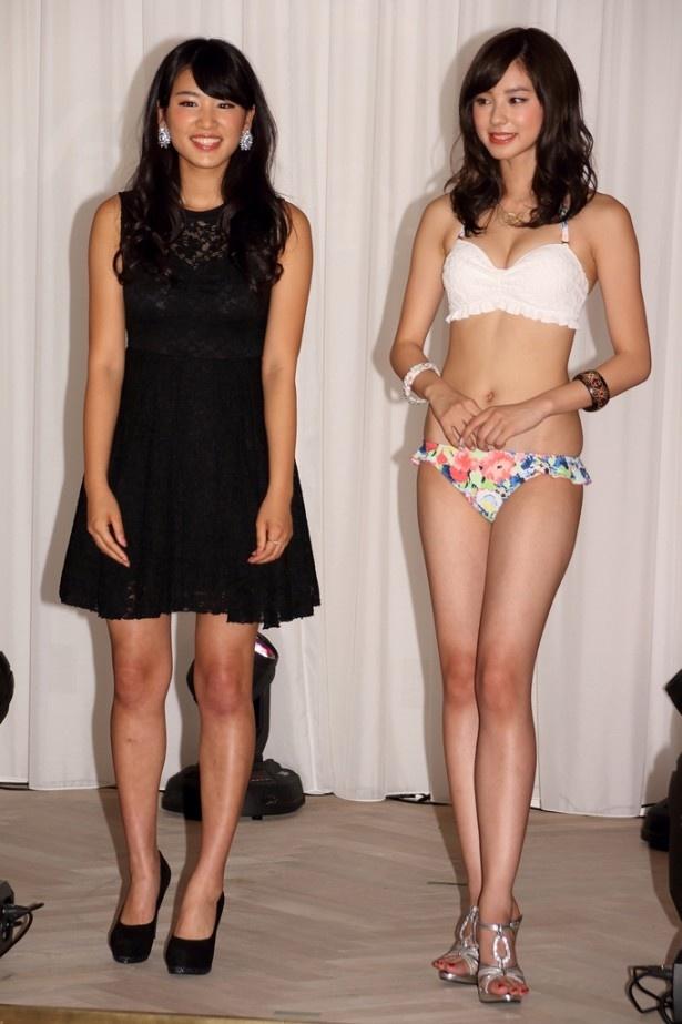 2014年三愛水着イメージガールの久松郁美(左)も登場