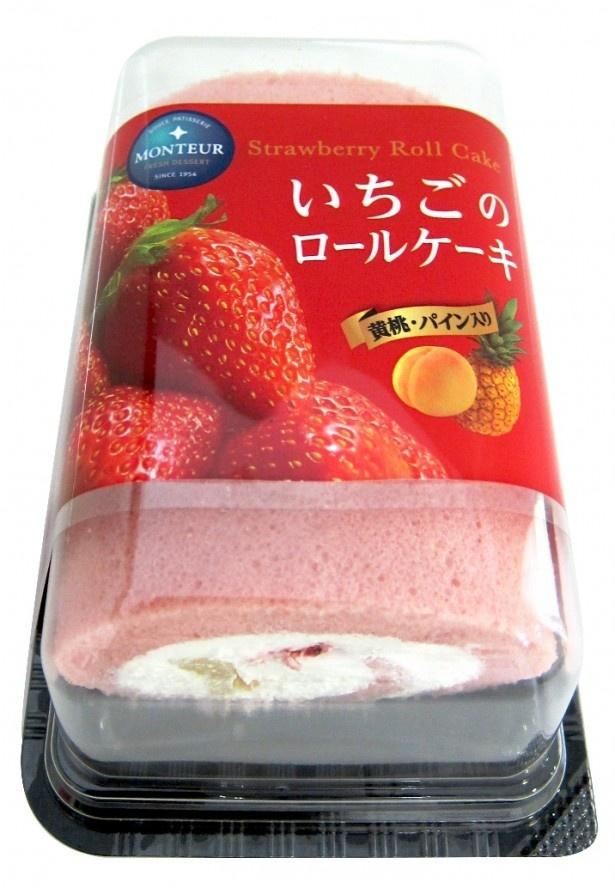 【写真を見る】ふんわりした生地といちごミルククリーム、イチゴのコンフィチュールなどで贅沢な味わいの 「いちごのロールケーキ」(希望小売価格410円)