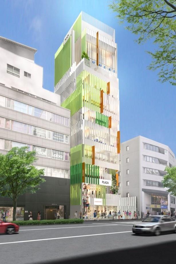 渋谷側からの外観イメージ。都会的でありながらも、緑や光を取り入れた空間を目指す