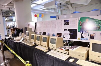 「Macintosh 30Years Meeting KOBE」の会場には古いMacずらりと展示された。ファンには垂涎のお宝だ