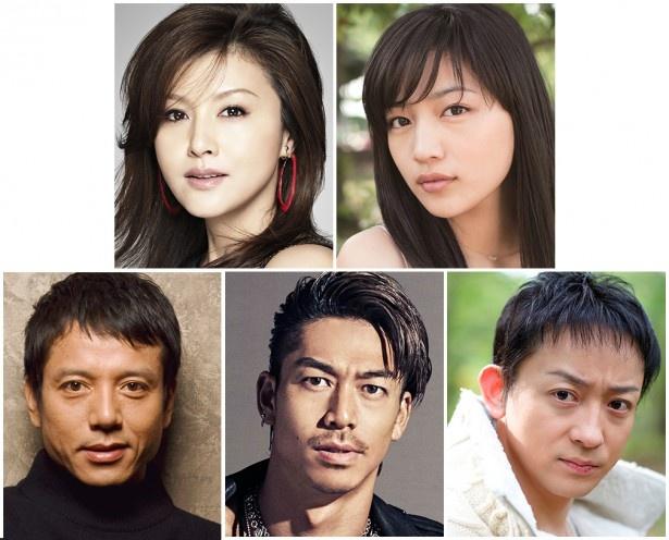 各作品に主演する藤原紀香、川口春奈、勝村政信、AKIRA、山本耕史(上段左から)
