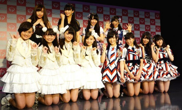 「Kawaiian TV」開局記念会見に登壇したNMB48、Rev.from DVL、GALETTe、SO.ON projectのメンバー
