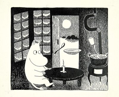 日本初公開の原画約150点が登場。写真は「ムーミン谷の冬」挿絵、インク、1957年