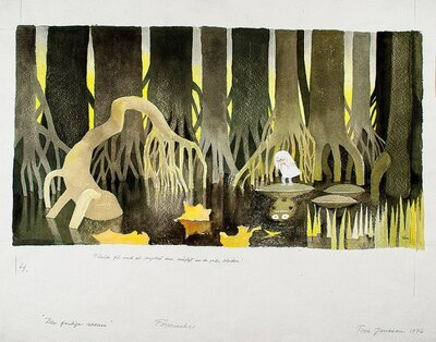 ムーミン童話の世界観が堪能できる。「ムーミン谷へのふしぎな旅」挿絵、インク・水彩、1976年