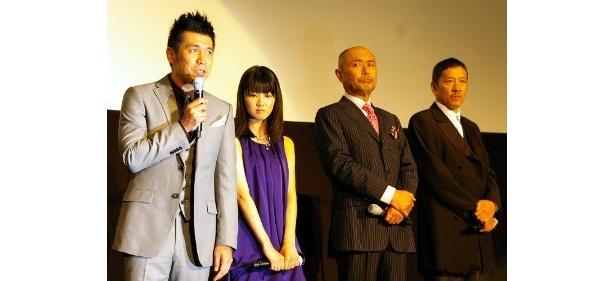 左から・ゴリ(ガレッジセール)、福田麻由子、伊武雅刀、奥田瑛二