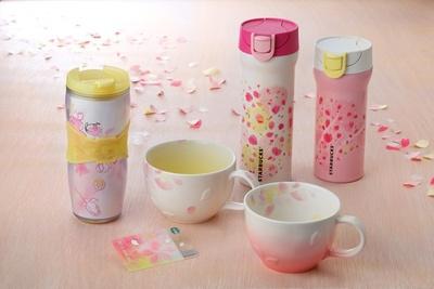 桜の移り変わりをデザインしたドリンクウェアシリーズも発売