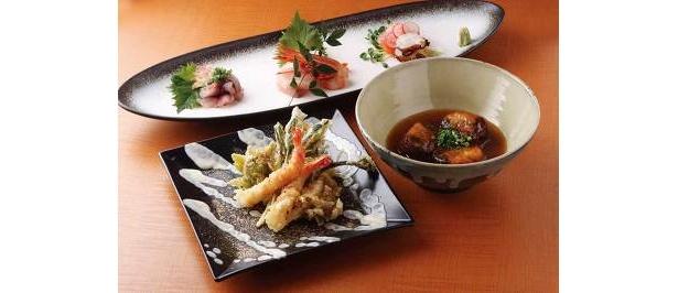 春野菜天ぷらアスパラソース添え(¥1600)、鰻ともちもちすり身の印ろう(¥1000)造り盛り(¥1500)