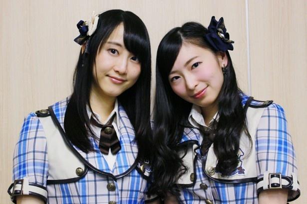 インタビューに応じたSKE48の松井玲奈と大矢真那