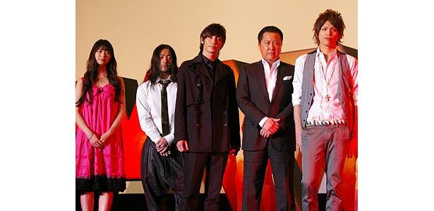 左から・山下リオ、 山田孝之、玉木宏、石橋凌、山本裕典