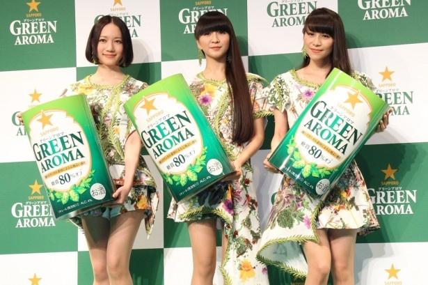 「サッポロ グリーンアロマ」新商品発表会に出席したPerfume(左から) のっち、かしゆか、あ~ちゃん