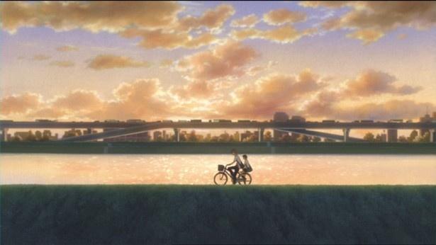 「時をかける少女」の土手を自転車で走るシーン