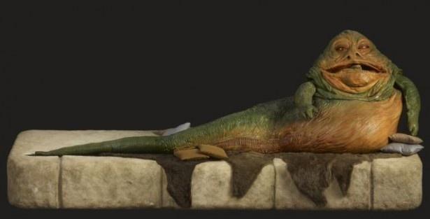 ジャバ・ザ・ハットの像をはじめ、映画で使用されたイウォークのコスチュームも間近で見られる!