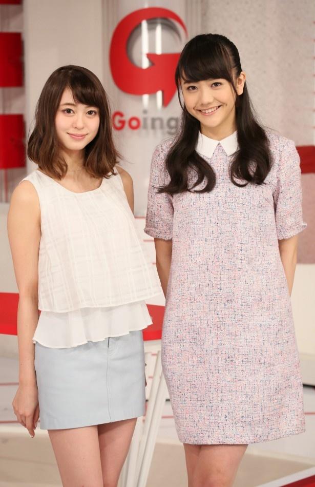 「Going!」のお天気キャスターに決定した大川藍(左)、松井愛莉(右)