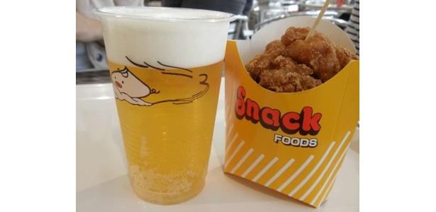 同じく「チャイナタウンデリ」より、生ビール唐揚げセット¥800。ウマ〜