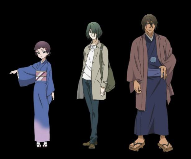 OVA「創勢のアクエリオンEVOL」に登場するキャラクターたち。左から小倉唯が演じる河津ユノ、福島潤が演じる月島シン、石塚運昇が演じる不動GEN