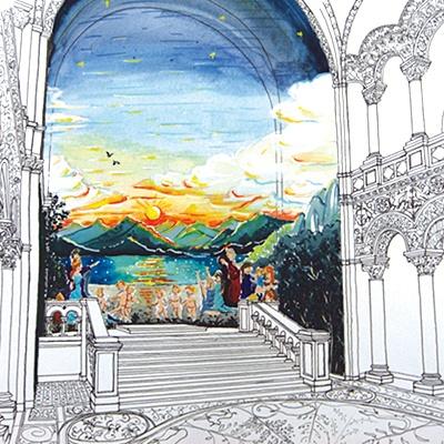城内の王座の間には巨大な壁画も!
