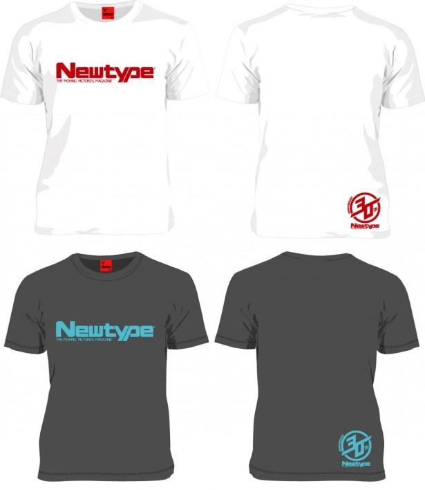 【5~10】ニュータイプ30周年記念 Tシャツ(白・グレー)。サイズはM・L・XLの3展開