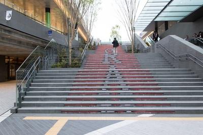 二子玉川駅を出ると、イルミの美しい階段がお出迎え!