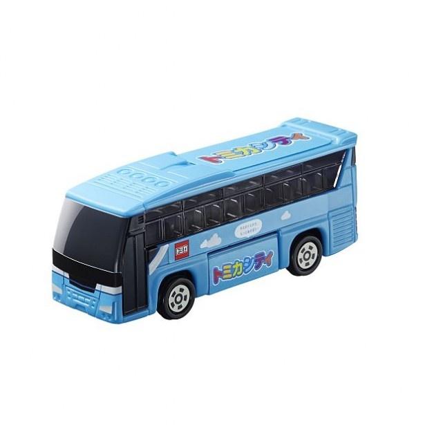 トランクルームを回転させることができる「いすゞ ガーラ トミカシティバス」。回転させると荷物のイラストが出現!