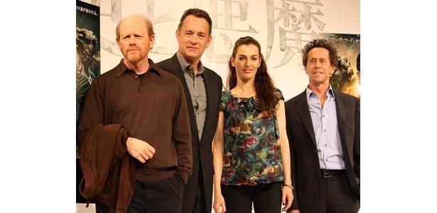 左から・ロン・ハワード監督、トム・ハンクス、アイェレット・ゾラー、プロデューサーのブライアン・グレイザー