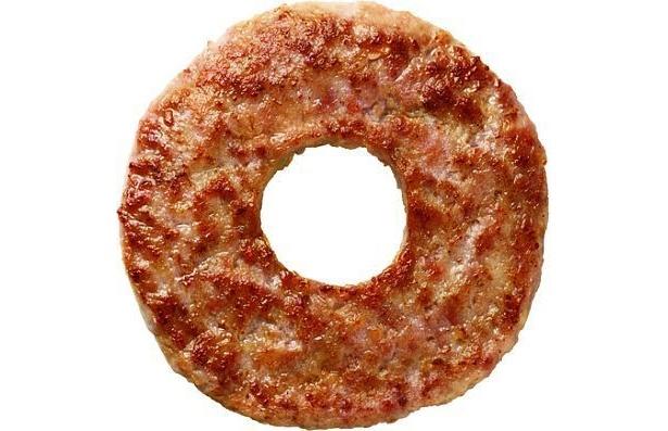 なんとパティに穴が! これがモスのドーナツパティ