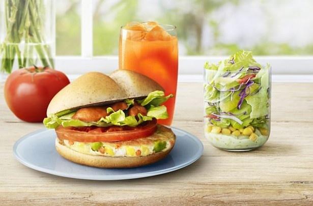 「ベジタブルチキンバーガー」(単品340~370円)をはじめ、野菜を使用したメニューがマクドナルドに勢ぞろい!