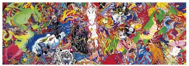 「DEVA LOCA」神々が住む場所、という意味の作品。溢れるような色の細部に、手がけてきたキャラクターが描かれている
