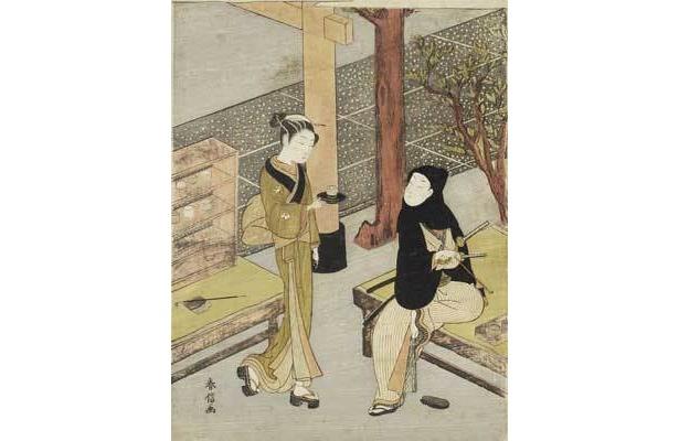 鈴木春信「おせん茶屋」18世紀中期(明和頃) たばこと塩の博物館蔵