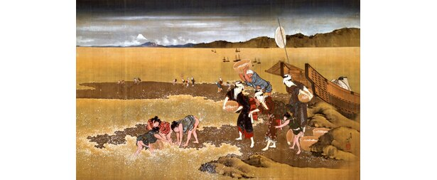 葛飾北斎作「潮干狩図」(大阪市立美術館所蔵)