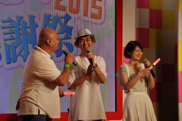 「ヒャダインのガルポプ!」MCのヒャダインとトークゲストの竹中夏海、クロちゃん