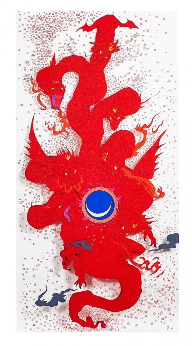 「七つの頭の赤い道」。7月15日(水)にAmazonに登場した「天野喜孝 『黙示録』 原画12点+DVDセット」
