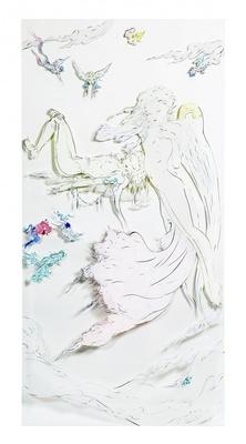 「女神と男」。7月15日(水)にAmazonに登場した「天野喜孝 『黙示録』 原画12点+DVDセット」