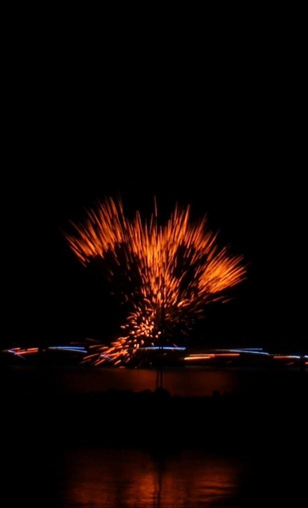 【写真を見る】一定の高さに打ち上がってから形を表現する通常の花火と異なり、地上から飛び出した途端に形が表現される