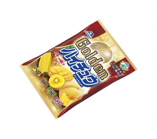 【写真を見る】「Golden ハイチュウアソート」(オープン価格)。ゴールデンパイン、ゴールデンマンゴー、ゴールドキウイ、黄金桃の味わいが1袋に