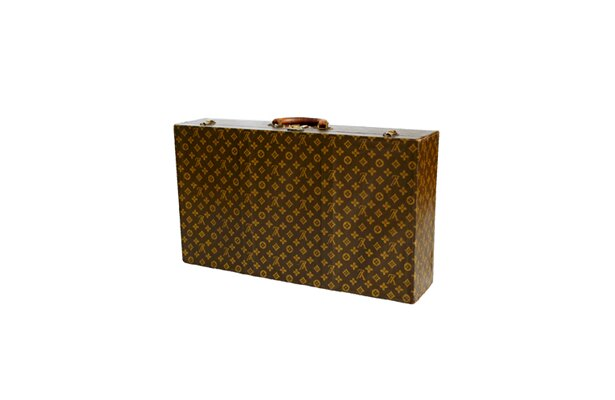 1930年代の「カバー付スーツケース」。1.5kgと超軽量で、飛行機・飛行船用と推測