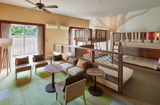 定員6名のテラスルームには、2段ベッドも