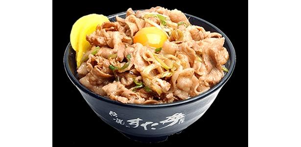 これが100円!?生玉子、味噌汁付の「すた丼」。満腹になりたい人にはもってこい!