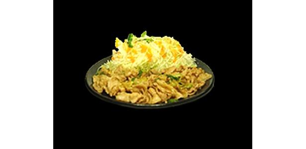 すた丼・生姜丼の定食番。キャベツの付け合わせを載せてすた丼風に食べるのもgood!「すたみなライス/生姜ライス」