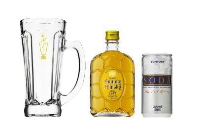 特製ジョッキと角瓶(180ml)、サントリー ソーダ(200ml)がセットになったコンビニ限定セット