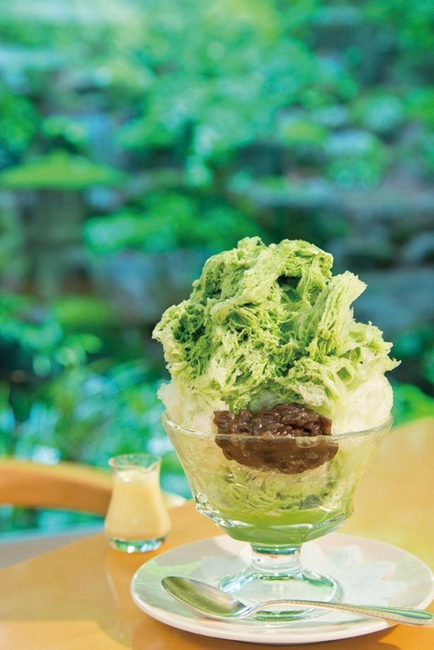 日光金谷ホテル メイプルリーフの「抹茶あずき」(1100円)は、日本茶ソムリエによる厳選抹茶を使用
